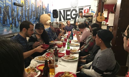Inside the Negev: a cozy dinner with your roomates.