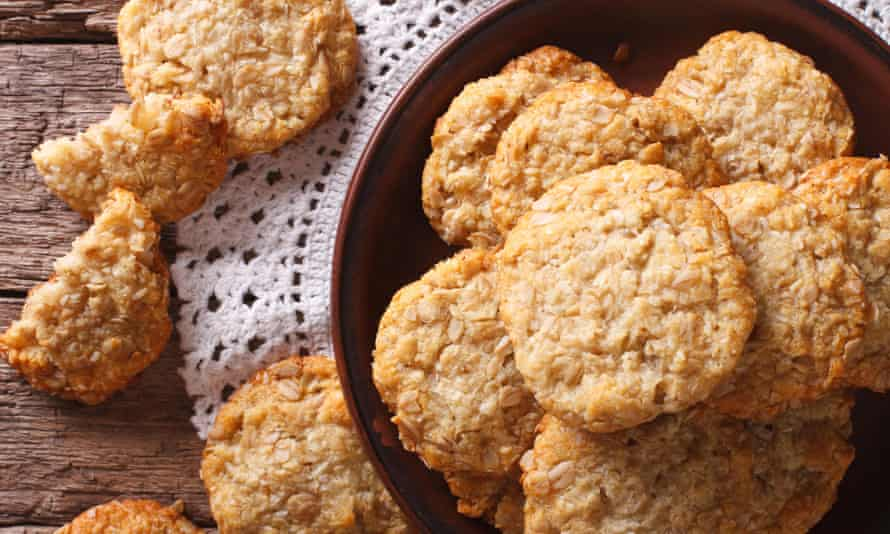 A plate of homemade Anzac biscuits