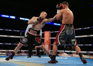Groves launches a left.