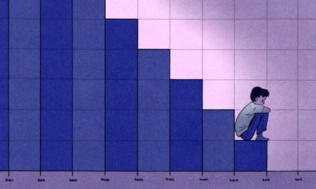 Illustration, of urchin sitting on bottom rung of poverty graph, by Bill Bragg