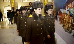 Members of the Moranbong band arrive at a hotel in central Beijing, China.