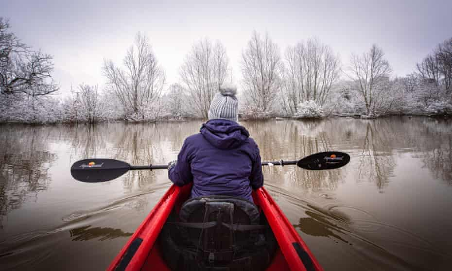 The writer's partner in their kayak on the Severn.