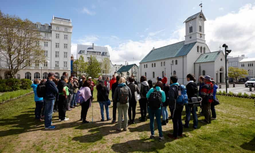 Tourists on walking tour, Reykjavik