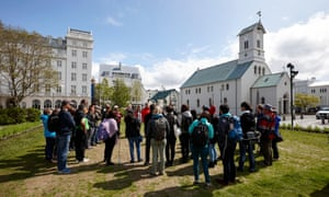 Tourists in Reykjavik, Iceland