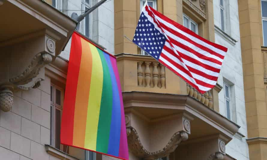 The Biden White House reversed an order by the Trump administration that banned flying the pride flag on the same pole at US embassies, seen here in Moscow, but will continue to ban the flag at US military installations.