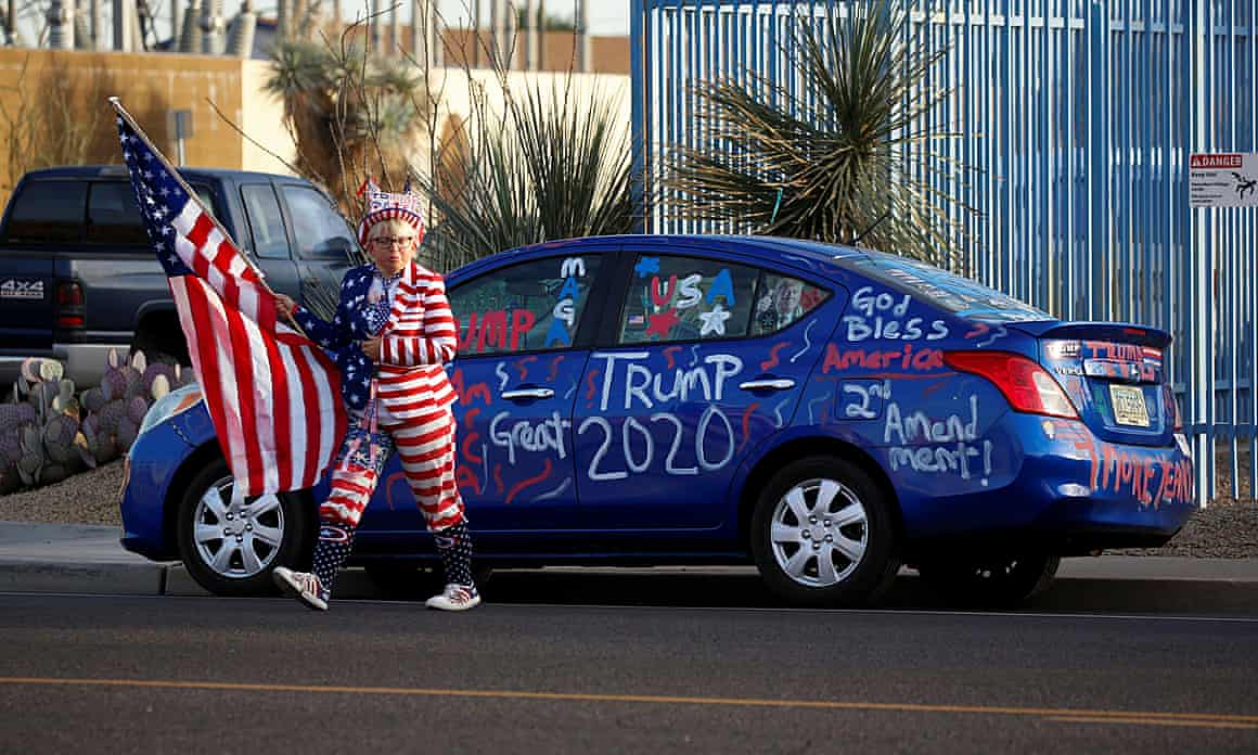 "Supporters of Donald Trump gather for a ""Stop the Steal"" protest in Phoenix, Arizona."