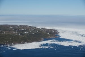 Pack ice in Strait of Belles Isles offshore of St Lewis