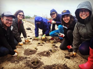 A planting day at Merri creek featuring an appearance by Courtney Barnett (second from right)