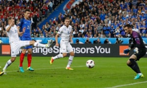 Iceland's Kolbeinn Sigthorsson saves some pride with their first goal.