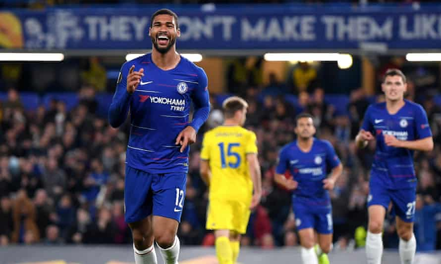 Ruben Loftus-Cheek of Chelsea celebrates after scoring his and his team's second goal during the Group L match with BATE Borisov.