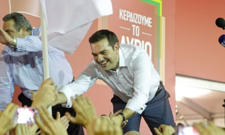 Alexis Tsipras reaches out to his supporters after his election victory