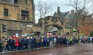 University and College Union members strike outside the University of Glasgow in November 2019.