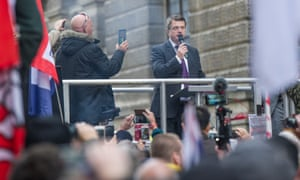 Ukip leader Gerard Batten speaking at a rally of Yaxley-Lennon's supporters outside the Old Bailey.
