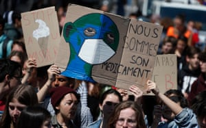 Fridays for Future climate protest in Montpellier, southern France.