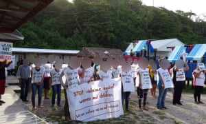 A protest at the detention centre on Nauru