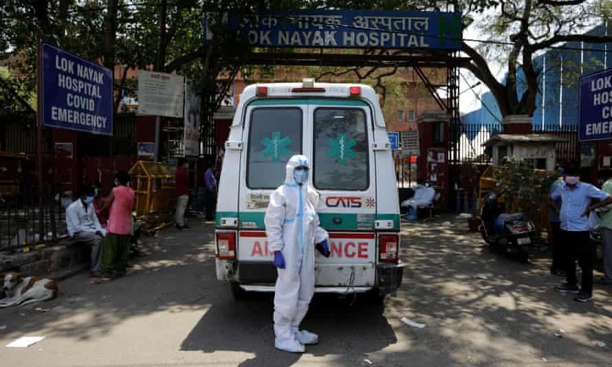 An ambulance outside Lok Nayak Jaiprakash Narayan hospital in New Delhi, India.