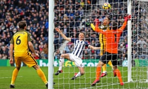 Jonny Evans watches his header cross the line to give West Brom the lead inside the first five minutes.