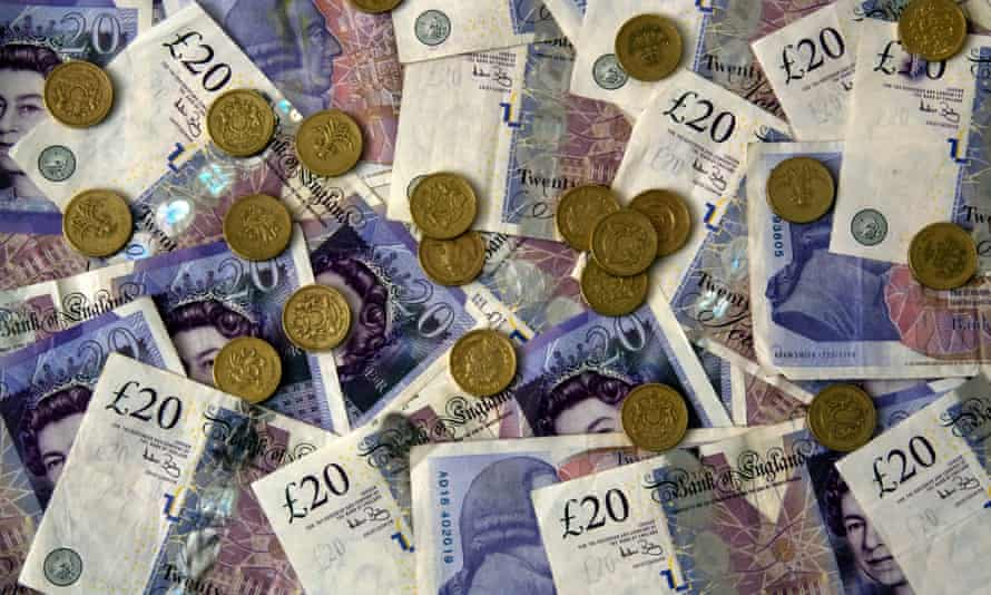 Twenty Pound Notes and Coins Money