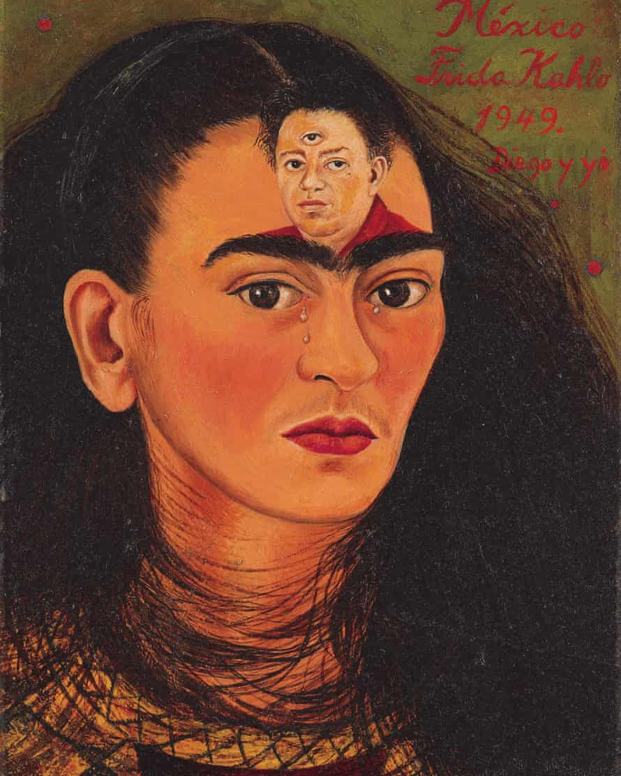 Frida Kahlo's 1949 self-portrait Diego y yo featuring her husband Diego Rivera in the centre of her forehead.