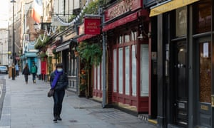 Closed cafes in Covent Garden in the run-up to Christmas.