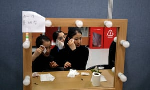 Performers get ready backstage. The overarching theme of the opening ceremony was five children learning about the origins of Korean mythology and time-travelling forward to see their future in a digitally connected world