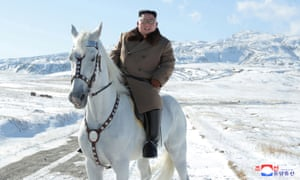 North Korean leader Kim Jong-un rides a horse in the snow on Mount Paektu in this image released by North Korea's Korean Central News Agency.