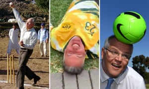 John Howard bowls in Pakistan, NSW sports minister John Sidoti sprawls after tripping during a promotional video for the Matildas, and Scott Morrison headers a soccer ball