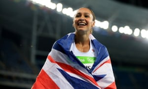 Jessica Ennis-Hill celebrates after winning silver in the women's heptathlon in Rio.