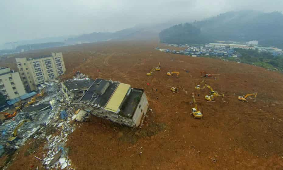 An aerial view of the landslide at Liuxi industrial park in Shenzhen, China.