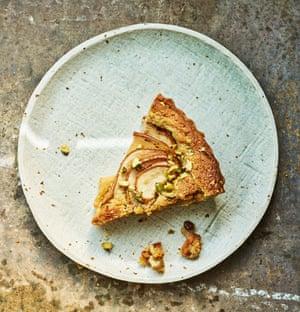 Anna Jones Pear, pistachio and cardamom tart