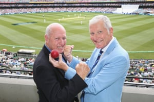 Willis poses with former Australian adversary Rick McCosker (left) during the Fourth Test in the 2017/18 Ashes series at Melbourne Cricket Ground in December 2017. In 1977 Willis broke McCoskers jaw with a bouncer that hit his face. McCosker retired hurt but bravely came back on later in the match.