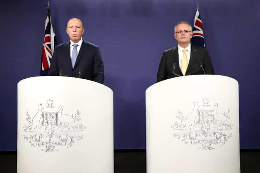 Prime minister Scott Morrison and minister for home affairs Peter Dutton