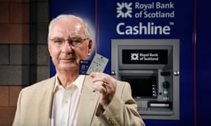 ATM inventor James Goodfellow with one of the early 'coded bank tokens' and a modern day card