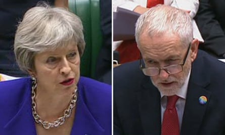 Theresa May and Jeremy Corbyn at prime minister's questions