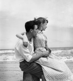 Young Couple, 1955. Watching the waves roll in near a Butlin's holiday camp