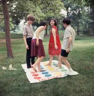 Just friends? Twister players soon after the game's creation during the 60s sexual revolution.