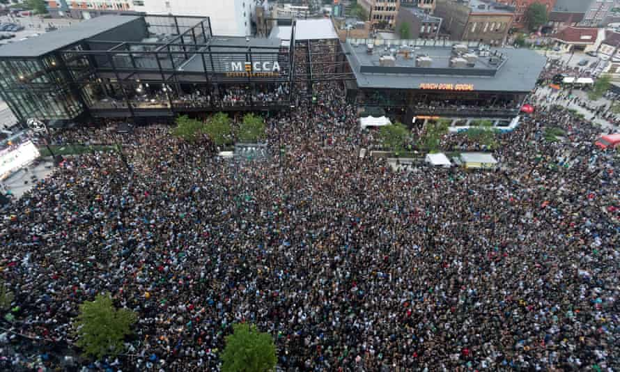 Fans pack the Deer District during game six of the NBA finals on 20 July.