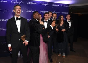 Daniel Mulloy, Afolabi Kuti, Arta Dobroshi, Shpat Deda, Scott O'Donnell amd guests attend the La La Land BAFTA after party hosted by Lionsgate at 100 Wardour Street