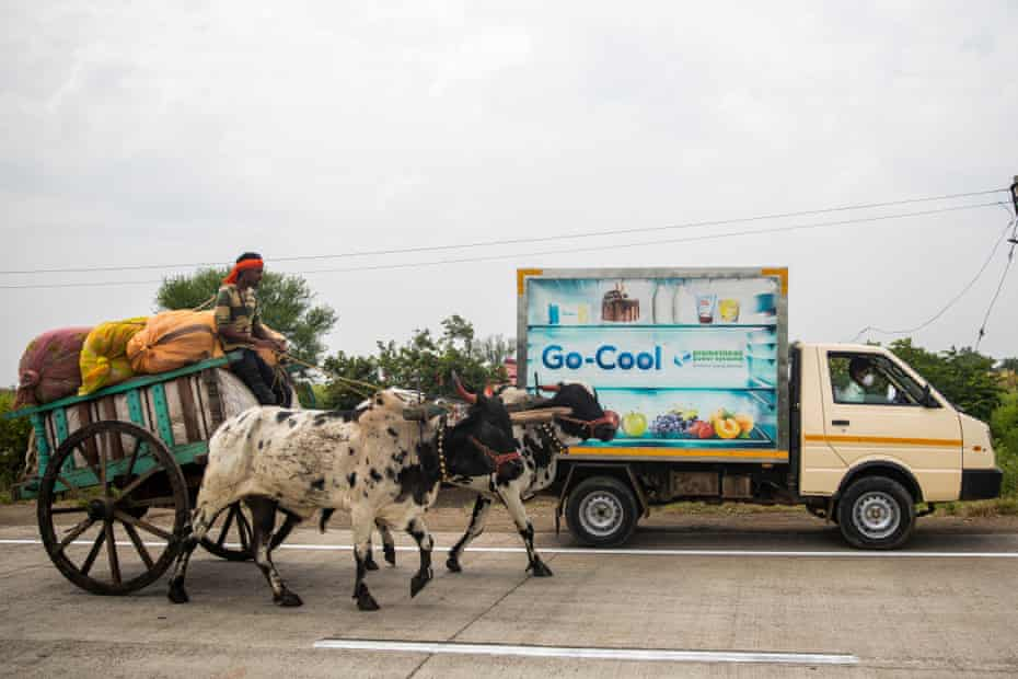 A reefer van leaves to pick up milk from Lakshmi Dairy centres in Karajgaon