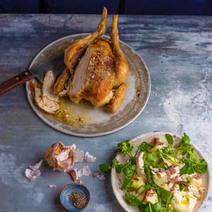 The seven meal roast chicken: chicken, watercress, boiled potato and anchovy salad, by Gill Meller. 20 best meals for one. Food stylist Polly Webb-Wilson.