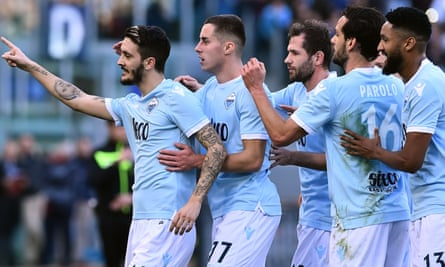 Luis Alberto, one of Lazio's bargain buys, celebrates with his team-mates after scoring against Chievo.
