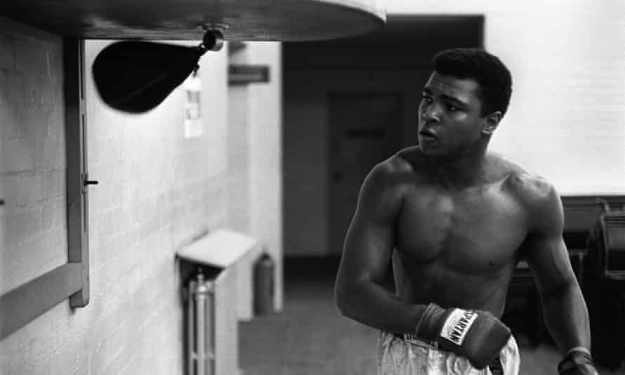 Cassius Clay Clay works on the speed ball, 30 May 1963.