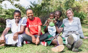 Sylvia Chepwkemoi, 34yrs with her son Brivian Kiplangat (4 months old) and birth companion Fridah Chemtai, visited by Angela and Pauline. Sylvia Lost two children due to sepsis and was fortunate enough to use CHX on Brivian.