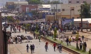 Anti-government demonstrators block a road in Bamenda.