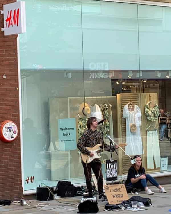 'It's good to be out' … Laurie Wright busking in Manchester on 15 June.