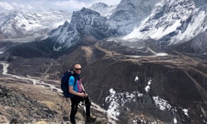 Robin Haynes Fisher on his way to climb Mount Everest.