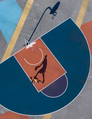 The graphic shapes and shadows of a basketball court