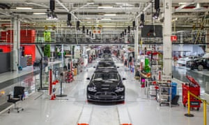 Inside Tesla's factory. Elon Musk has said his company will make 500,000 cars in 2018, a 495% increase from 2016.