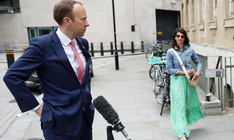 Health secretary Matt Hancock and Gina Coladangelo outside the BBC headquarters in June.