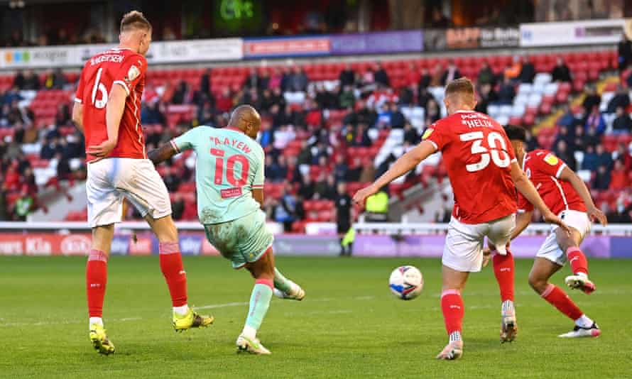 André Ayew scores for Swansea against Barnsley at Oakwell